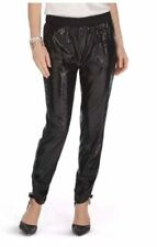 WHBM White House Black Market Sequin Pants Pull On Black Tapered Leg Ankle S