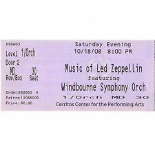 LED ZEPPELIN by WINDBOURNE Concert Ticket Stub 10/18/08 CERRITOS CALIFORNIA Rare