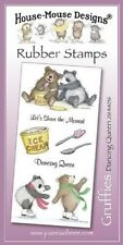 HOUSE MOUSE DESIGNS GRUFFIES Unmounted Rubber Stamps DANCING QUEEN JSHM056