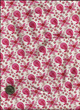Cute Paisley Floral Print pink & rose on lt cream or off white/white Fabric