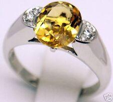Women 14k Ring, 2.2 cts Citrine 0.15 ct Diamond Sz 7