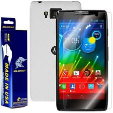 ArmorSuit MilitaryShield Motorola Droid Razr HD Screen + White Carbon Fiber Skin