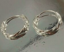 Sterling Silver round Hoop Earrings twisted Design 14mm Diameter  2mm thickness