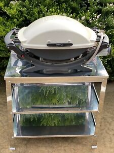 BBQs-R-US stainless steel trolley/stand with shelves! CLEARANCE!