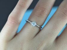 $3,800 Tiffany & Co Solitaire Platinum 0.44ct Round Diamond Engagement Ring Band
