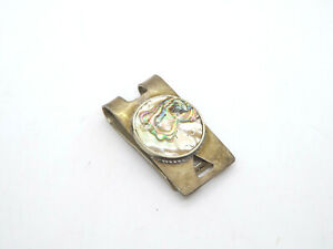 Vintage Hencho en Mexico Sterling Silver Abalone Money Clip, 28.6g