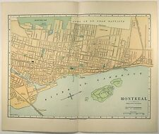 Original 1887 Street & Railroad Map of Montreal Quebec by Phillips & Hunt