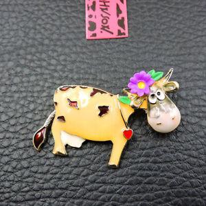 Cute Yellow Enamel Cute Flower Dairy Cow Animal Betsey Johnson Brooch Pin