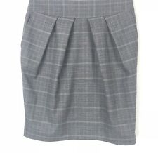 Next Skirt Grey Pink Checked 10 Smart Work Pleated Career Office Pencil Pockets