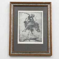"""Signed Olaf Wieghorst Etching """"In Trouble"""" Bucking Bronco Framed 10.5"""" x 13.75"""""""