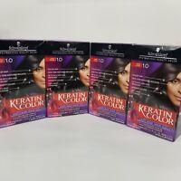 Schwarzkopf Keratin Color Anti Age Hair Color Permanent Dye Onyx Black 1.0 Lot 4