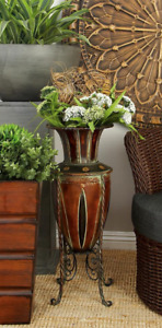"""Large Floor Vase Tall Tuscany Style Dried Artificial Flower Metal Urn Decor 27"""""""