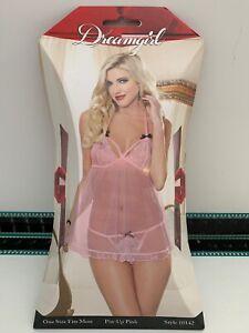 Dreamgirl Sexy Pink Mesh Flyaway Babydoll & Thong Fetish Wear Lingerie 10142