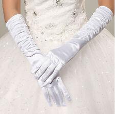 Women Long Satin Drape Full Finger Gloves Dress Bride Wedding Evening Prom US
