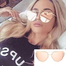 Rose Gold Cat Eye Sunglasses Aviator Mirrored Reflective Flat Top Women's