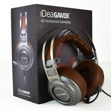 iDeaUSA 4D Gaming Headphones S408 Brown Steel Gray Mic USB 7.1 Surround Light
