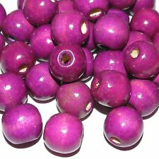 WL652L2 Purple 18mm Round with 4mm Hole Wood Beads 4oz Package (70pcs)