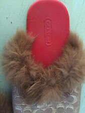 Fur Trimmed Coach Slippers size 5