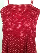 Hobbs RRP £250 red and white spotty polka dot strapless party dress UK size 8