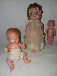 3 Kewpie Celluloid Dolls Made in Japan Vintage  4 To 6 1/2 In Gold Hair Carnival