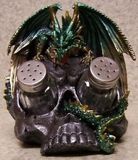 Salt & Pepper Shaker Set Medieval Green Dragon and Skull holder NEW