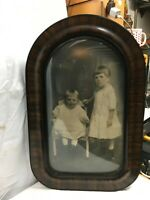 Victorian Oval Tiger Stripe Frame Bubble Glass Portrait  Frame Child Portrait