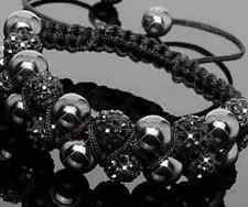 5pcs/lot 10mm Double row resin men women Beads black Crystal Shamballa Bracelet