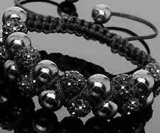 5pcs/lot 10mm Double row resin men women Beads black Crystal Shamballa Bracelet