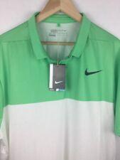 Nike Golf Flyknit Mesh Snap-up Polo Shirt 2XL 833157-300 Green & White NWT $90