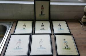 Vintage Set Seven Reproduction 'The Great Defender series ' Framed Prints