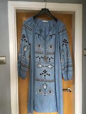 TRF Zara Boho brodé Midi Robe Caftan à manches longues avec pampille