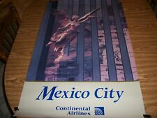 VINTAGE CONTINENTAL AIRLINES POSTER MEXICO CITY IN EXCELLENT CONDITION