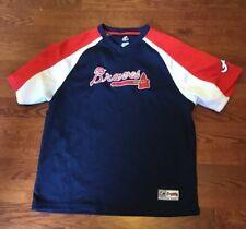 ATLANTA BRAVES Kids Youth Size Large Blue Shirt Jersey Majestic MLB