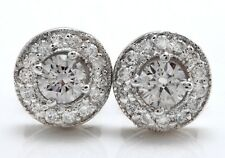 .94Ct Natural Diamond 14k Solid White Gold  Earrings