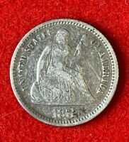 US 1872 Seated Liberty Half Dime ½ Dime 5C Fine Coin! 90