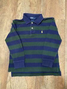 Boy's POLO Ralph Lauren Long Sleeve Polo Green/Blue Stripes Size 5