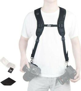 Camera Shoulder Double Strap Harness Quick Release Adjustable Dual Camera Strap