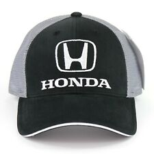 Honda Logo Embroidered Baseball Hat Ball Cap Black Gray Mesh Official Licensed