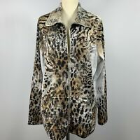 Zenergy By Chicos Womans Zip up Embellished Jacket Sz Large Animal Print Brown