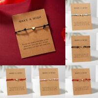 Women Heart Star Wish Bracelet Rope Bangle Friendship Couple Card Jewelry Party