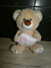 peluche doudou ours marron blanc rose coussin just for you 28 cm FOMAX