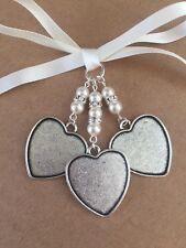 Bridal Bouquet Triple Heart Photo Frame Memory Charm Handmade Swarovski Beads