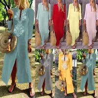 2018 Women Baggy Loose Long Sleeve V-Neck Linen Kaftan Maxi Dress Beach Dresses