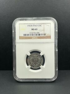1903 R Italy 25 Centesimi NGC MS 63 Superb Prooflike Coin