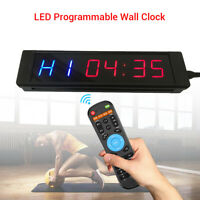 Programmable LED Cycle Timing Countdown Training Clock Blue/ Red For Fitness Gym
