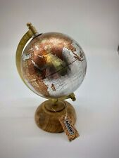 Globe Small  World Globe On Wooden Base Vintage Display Desk Top Silver Gold
