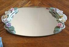 Mirror Tray Perfume Trinket Jewelry Tray W/ Porcelain Flowers