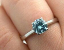 Blue Moissanite Ring 1.00 ct Round Diamond Solid 14kt White Gold Rings O  P M