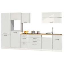 Küchenzeile 360 cm Einbauküche ohne Elektrogeräte Küchenblock hochglanz weiß