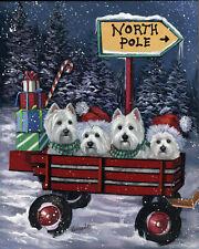 "Precious Pets Garden Flag - Westie Red Wagon 12"" x 18"" ~ Charity!"